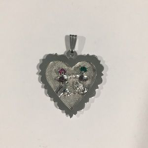 Jewelry - 14k White Gold Heart ❤️ Shape Pendant With Stones